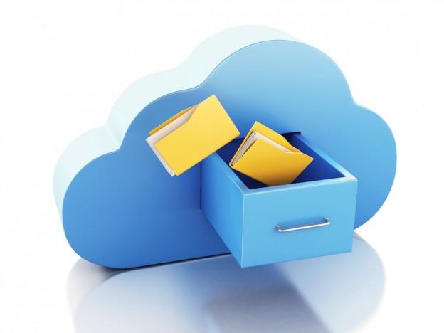 3d renderer illustration. 3d File storage in cloud. Cloud computing concept on white bakcground