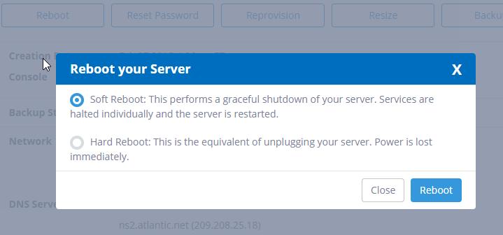 reboot your Windows VPS server